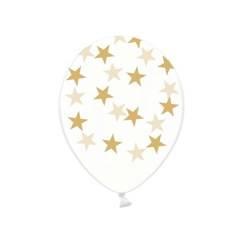 Billede af 6 stk Krystal klar balloner med guld stjerner