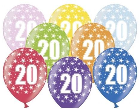 6 stk. 20 års fødselsdag mix metallice balloner