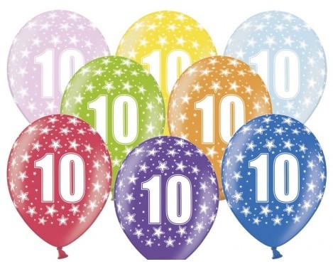 6 stk. 10 års fødselsdag mix metallice balloner