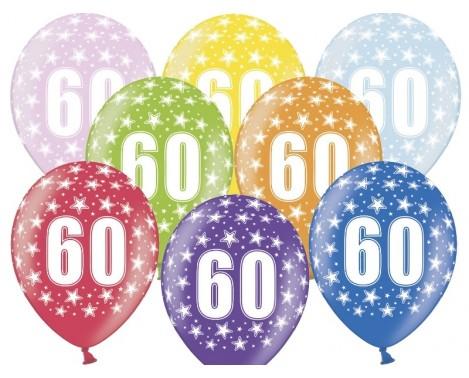 6 stk. 60 års fødselsdag mix metallice balloner