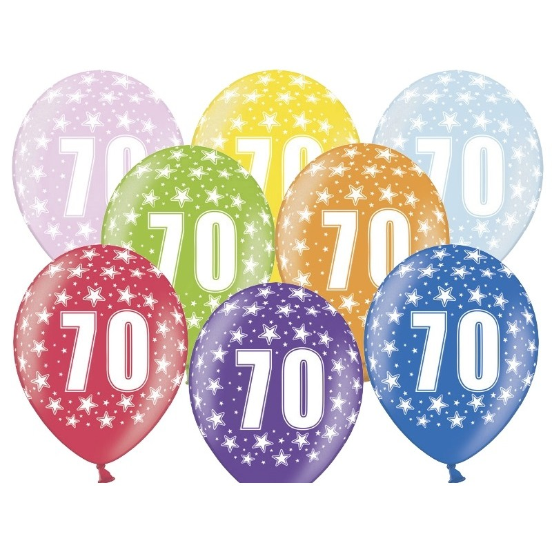 6 stk. 70 års fødselsdag mix metallice balloner