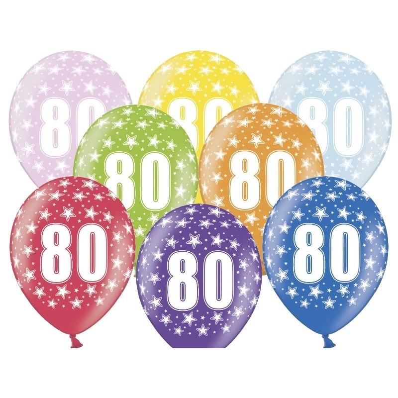 6 stk. 80 års fødselsdag mix metallice balloner