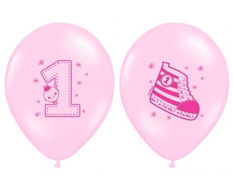 6 stk. 1 års lyserød fødselsdags balloner