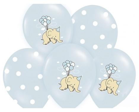6 stk. Lyseblå balloner med Elefant og prikker