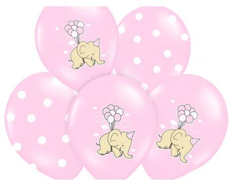 6 stk. Lyserød balloner med Elefant og prikker