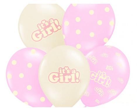 6 stk. Lyserød balloner - It's a Girl
