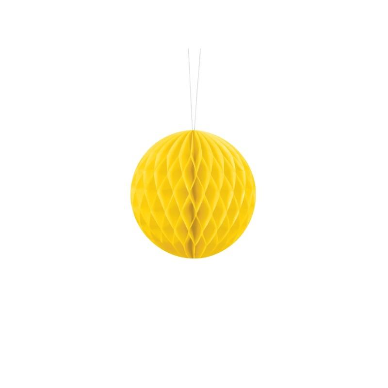 Billede af Gul honeycomb 10 cm - papir bikube