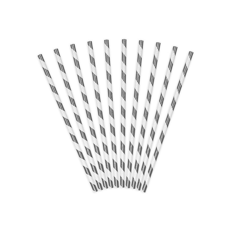 Papirsugerør 10 stk Twiste metallic sølv - hvid