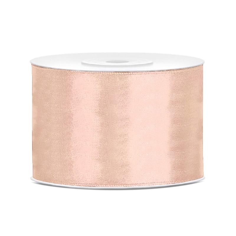 Satinbånd 50mm x 25m Lys fersken - Glat silkelook