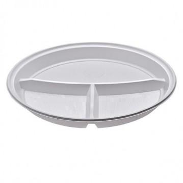 100 stk 3 delt plastik tallerkener 22 cm