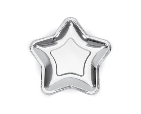 6 stk Stjerne engangstallerken i sølv metallic 18 cm