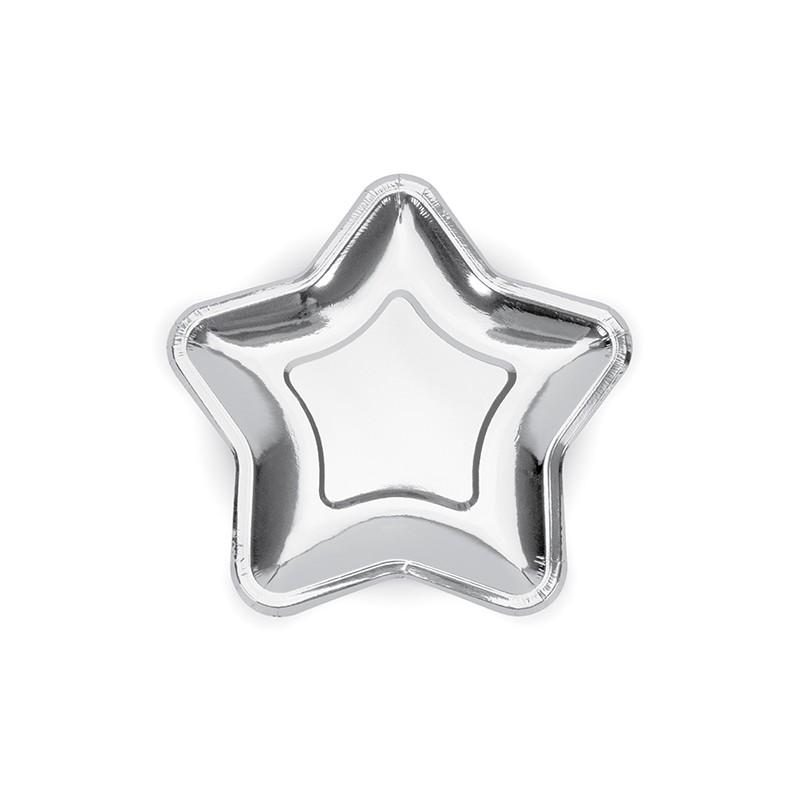 Image of   6 stk Stjerne engangstallerken i sølv metallic 18 cm