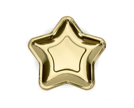 6 stk Stjerne engangstallerken i guld metallic 18 cm
