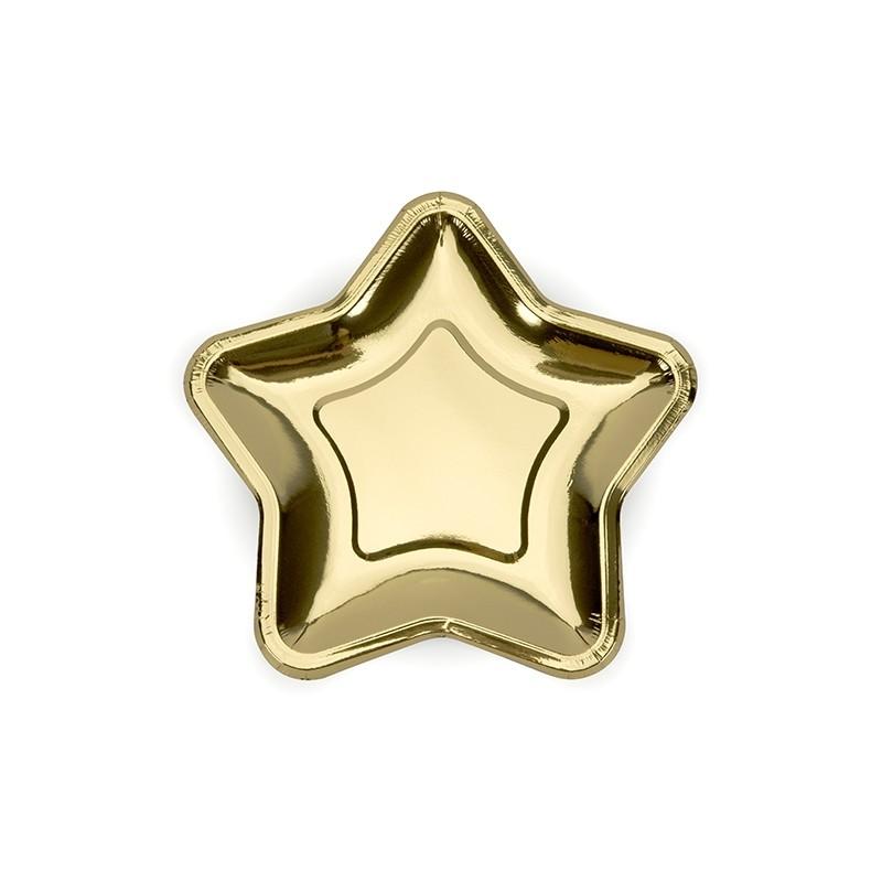 Image of   6 stk Stjerne engangstallerken i guld metallic 18 cm