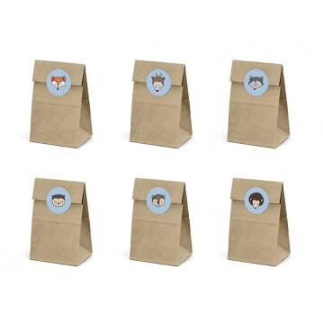 6 stk Gaveposer natur m/labels