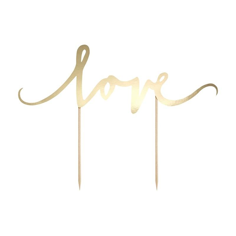 "Kage topper ""Love"" guld"