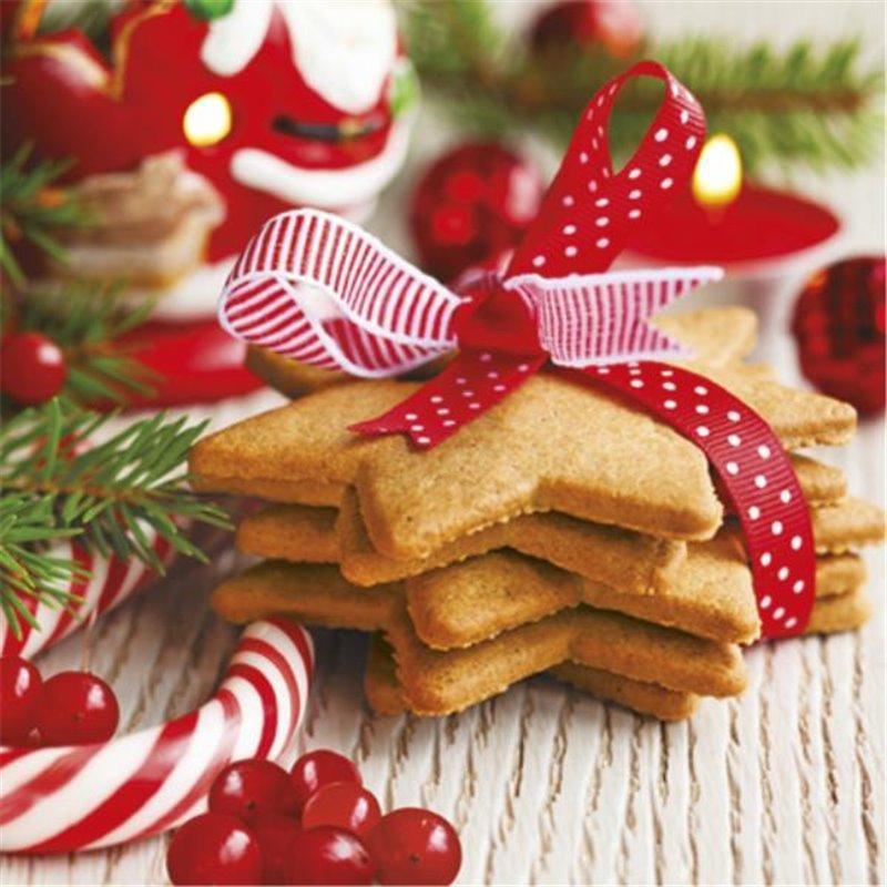 Billede af 20 stk Juleservietter med julekager