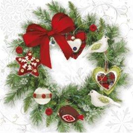 20 stk Juleservietter med julekrans