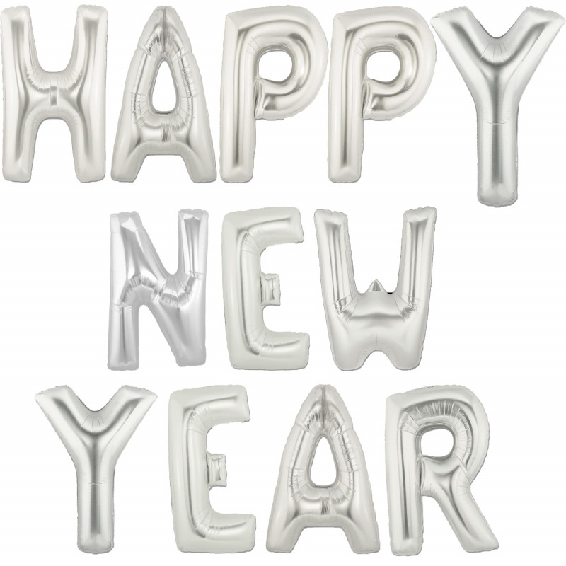 """Happy new year - tekst 16"""" pakket i sæt"""