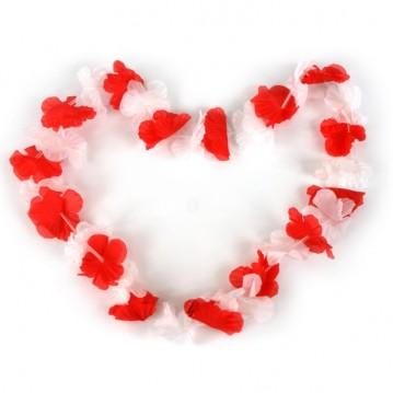 Hawaii blomsterkrans Rød/hvid