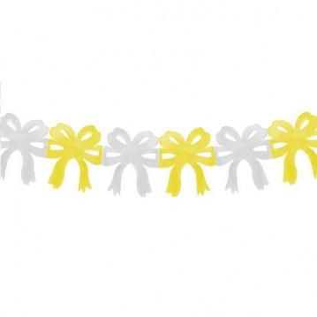 Guirlande af sløjfer gul/hvid