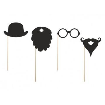 4 Stk. Props - Skæg, Hat & Briller - Fotos sticks