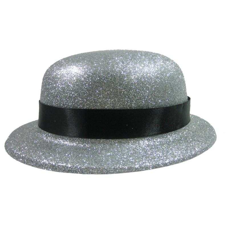 Bowlerhat sølv med bånd