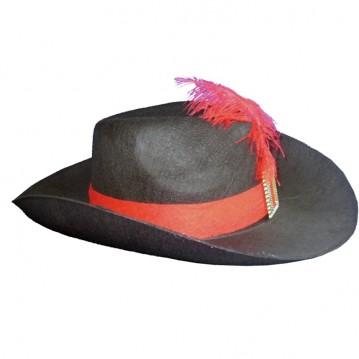 Musketer hat med bånd og fjer