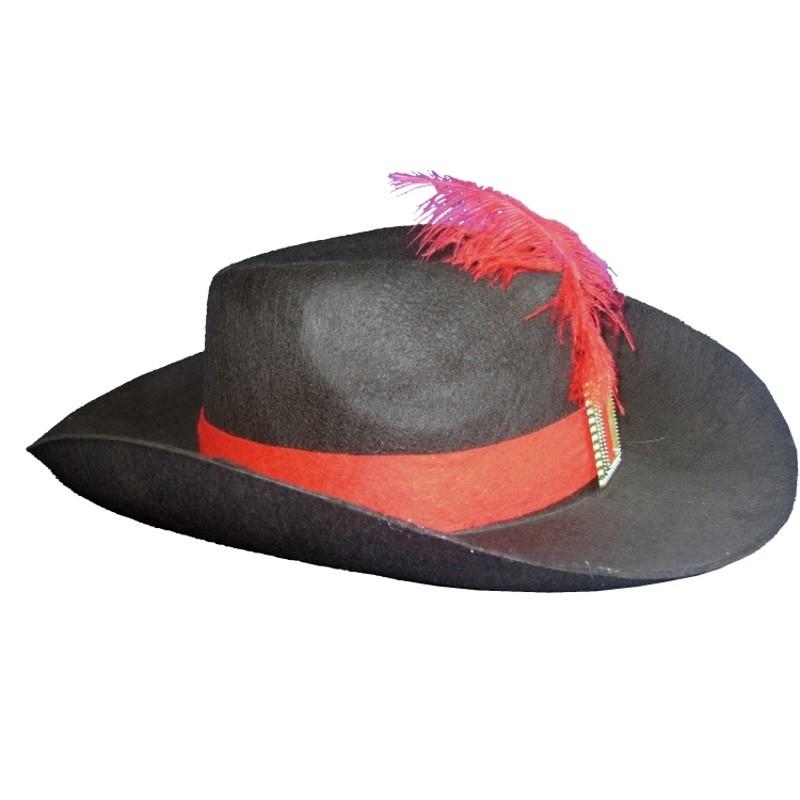 Billede af Musketer hat med bånd og fjer
