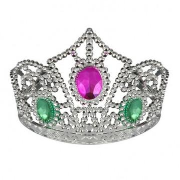 Høj tiara med farvede sten