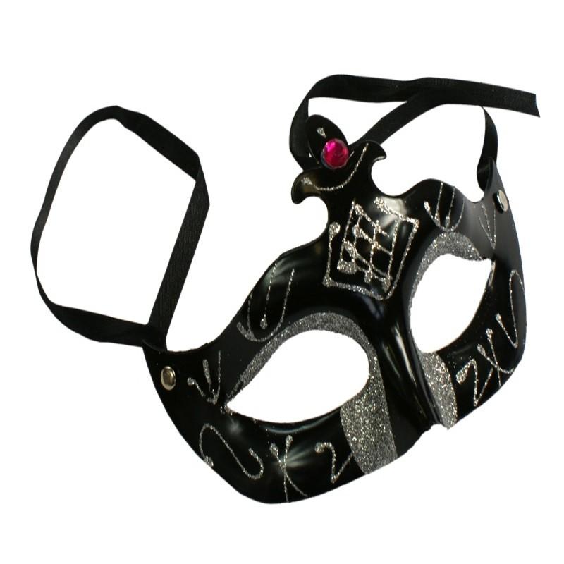 Sort maske med sølvglimmer