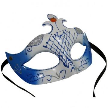 Karnevalsmaske blå/hvid
