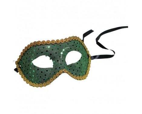 Grøn maske besat med palietter