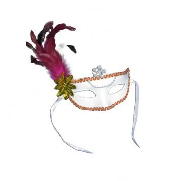 Hvid maske med bånd og pink fjer