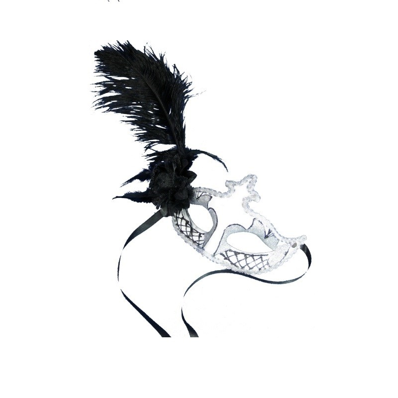 Sølv maske med sort fjer