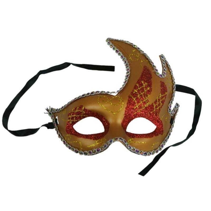 Partymaske rød/guld