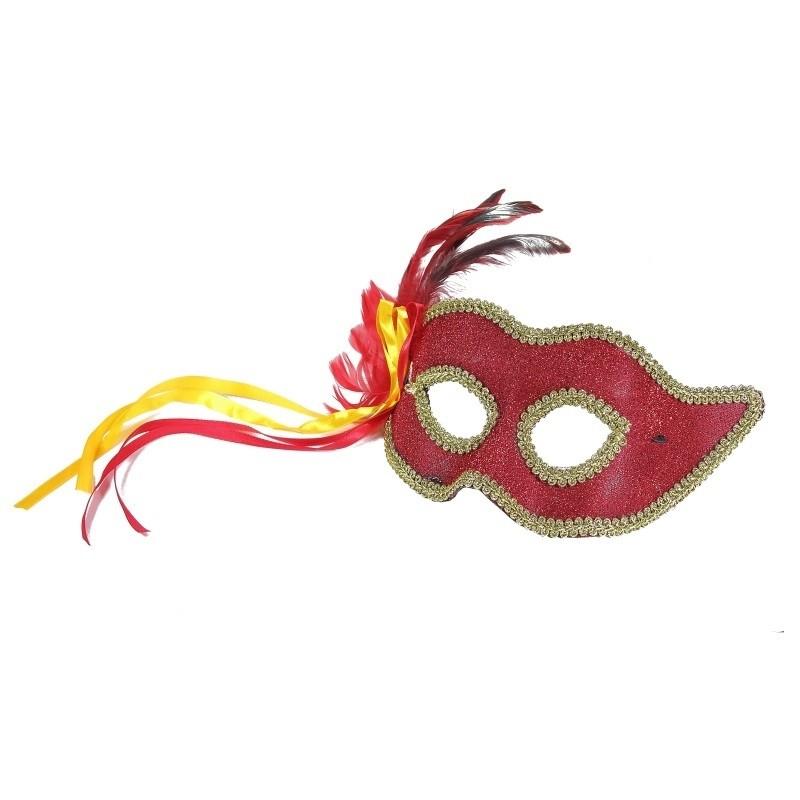 Rød maske med satinbånd og fjer