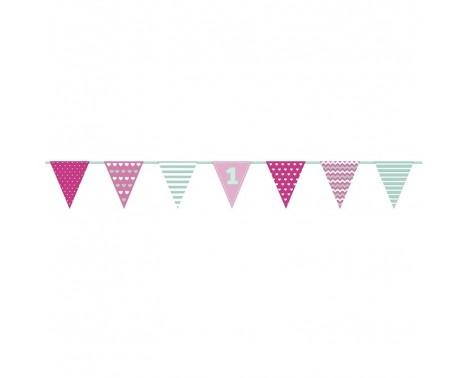 Pink banner til 1 års fødselsdagfest 135 cm.