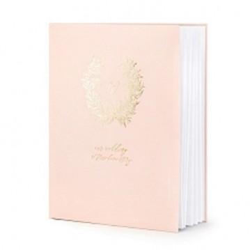 Gæstebog lyserød med guldskrift