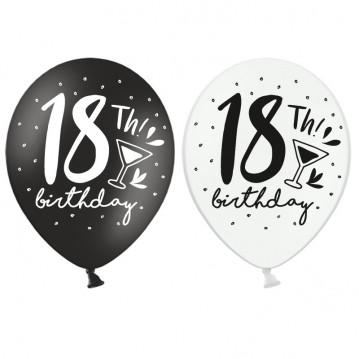 6 stk Balloner 18th Birthday