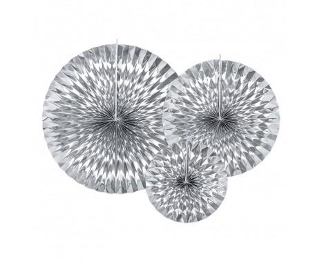 3 stk Papir Rosetter Sølv
