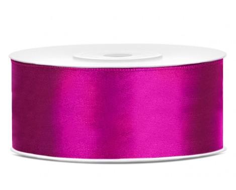 Satinbånd 25mm x 25m Fuchsia - Glat silkelook
