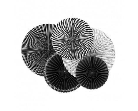 5 stk Papir Rosetter sort/hvid