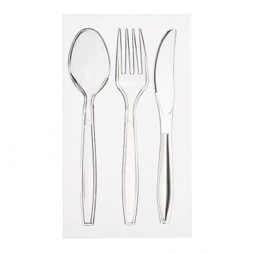 Bestiksæt med serviet med klar kniv, gaffel og ske