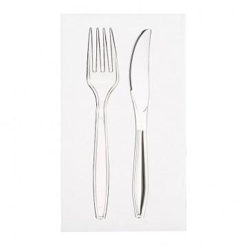 Bestiksæt med serviet med klar kniv og gaffel
