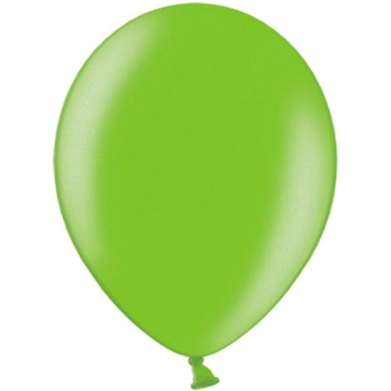 """10 stk Metallic limegrøn balloner - str 10"""""""