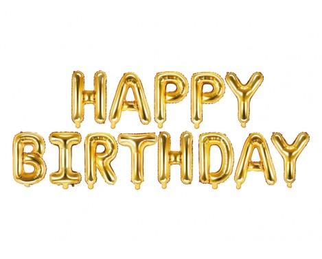 "Happy Birthday - tekst 14"" pakket i sæt"