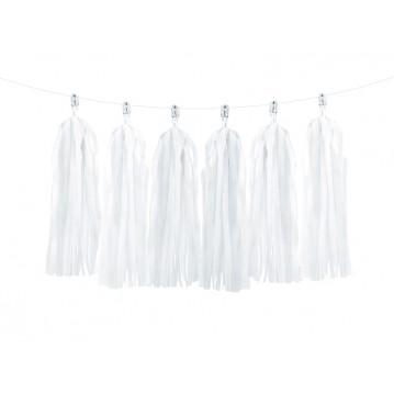 Guirlande med kvaster i hvid