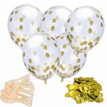 """18 stk Konfetti ballon - Guld 12"""" - 30 cm"""