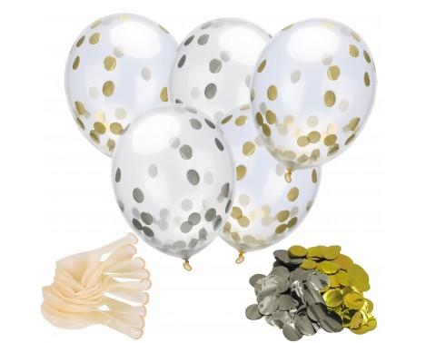 """18 stk Konfetti ballon - Guld og Sølv 12"""" - 30 cm"""